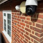 Close up of Hikvision CCTV camera on Essex property